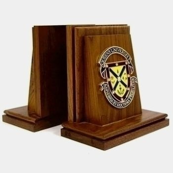 Bookends Walnut Coat of Arms
