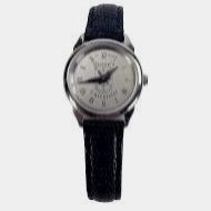 Watch Women's Silver Face Black Band